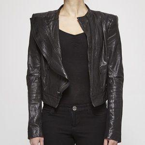 BCBG MAX AZRIA black leather zipper moto jacket